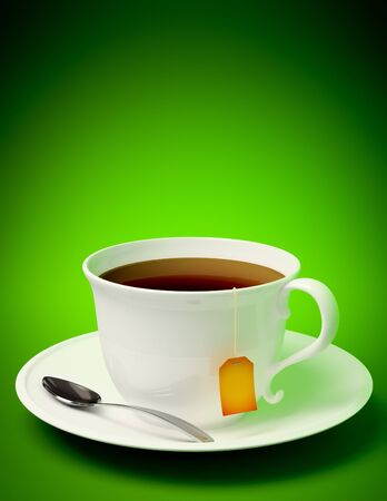 3D render of a tea cup with spoon on green background