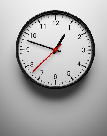 3D redner of a wall clock on white Stock Photo