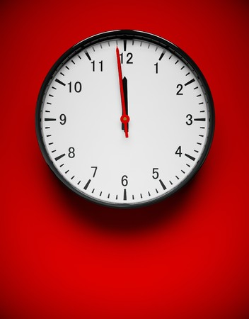 3D redner of a wall clock on red