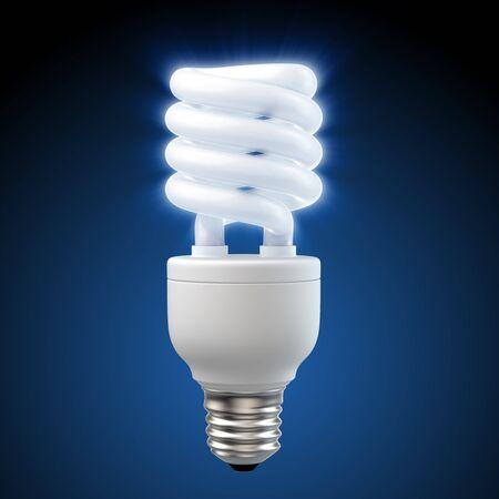 3d geef van een gloeiende blauwe energie - besparings gloeilamp terug