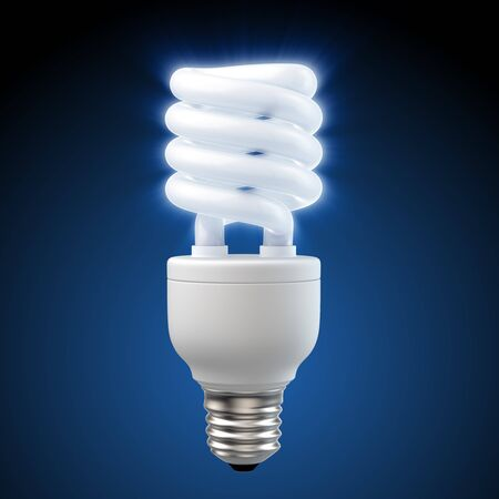 3d render of a glowing blue energy saving light bulb Stock Photo - 7878606