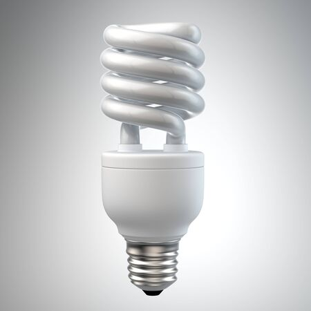 3d render of a white energy saving light bulb, surrounded by leafs isolated on white