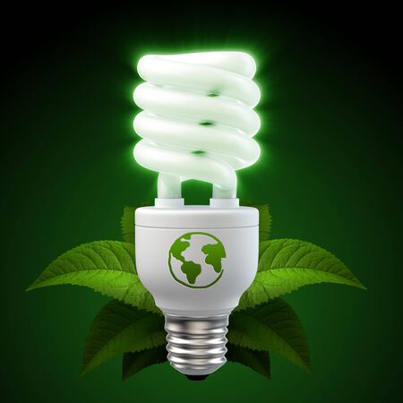 3d render of a glowing white energy saving light bulb, surrounded by leafs photo