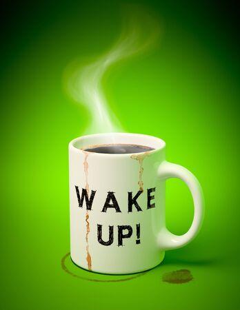 3D renderen van een witte mok met koffie, vlekken en damp komt uit op groene achtergrond  Stockfoto