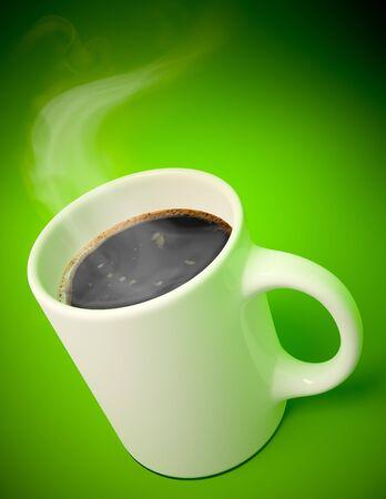 3D render van een witte Mok met warme koffie en damp komt uit op groene achtergrond Stockfoto