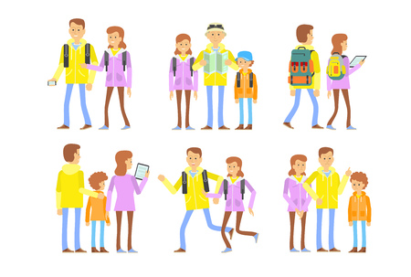 Active family in pursuit stage set. Family members creative set with different poses, gestures, emotions. Classification, type. Can be used for topics like pursuit, travel, adventure, tourism