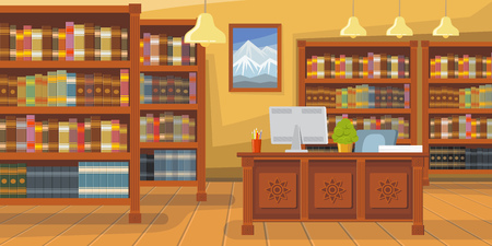 Modern library with bookshelf vector illustration. Librarians desk with desktop computer. Interior illustration Illusztráció