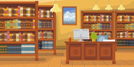 Moderne Bibliothek mit Bücherregal-Vektor-Illustration. Bibliothekar-Schreibtisch mit Desktop-Computer. Innenabbildung