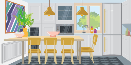 Modern cozy kitchen combined with dining room. Comfortable kitchen room equipped with appliances. Apartment concept. Vector illustration can be used for topics like home, flat, dwelling