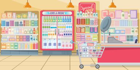 Supermarché avec illustration vectorielle d'étagères alimentaires. Boutique moderne de couleur rose avec panier complet à la caisse. Illustration de l'intérieur