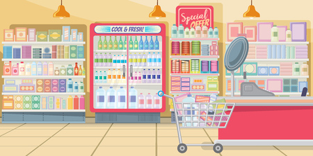 Supermarket with food shelves vector illustration. Modern shop in pink color with full shopping cart at cashier. Interior illustration