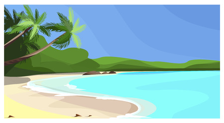 Beach coastline with palms vector illustration. Vacation space at sea. Paradise illustration