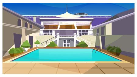 Maison de campagne avec illustration vectorielle de piscine. Façade de propriété à la mode moderne avec escalier. Illustration de la maison de vacances