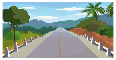 Country road with trees around vector illustration. Fenced modern asphalt way with dividing line. Journey illustration