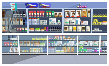 Display with hair products vector illustration. Aisle, store, shelf, shampoo. Retail concept. Can be used for topics like pharmacy, supermarket, beauty care Ilustração