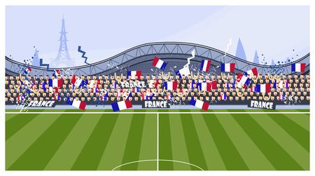 Illustration vectorielle de fans de football. Match, terrain, gradins, France. Notion de football. Peut être utilisé pour des sujets tels que la coupe du monde, le championnat, le sport, le fan club Vecteurs