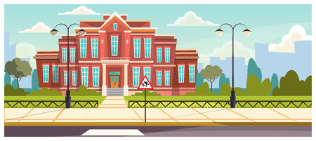 School building with small fence around. Brick building near road and warning sign. Education concept. Illustration can be used for topics like architecture, learning environment, boarding school Stock Illustratie