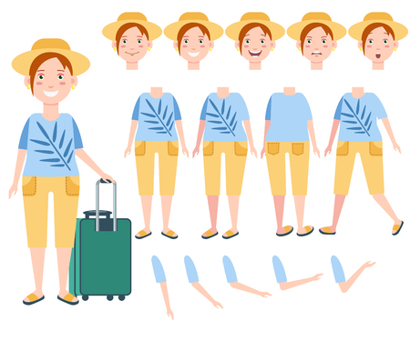 Happy female tourist in sun hat with luggage character set with different poses, emotions, gestures. Parts of body. Can be used for topics like travel, vacation, journey