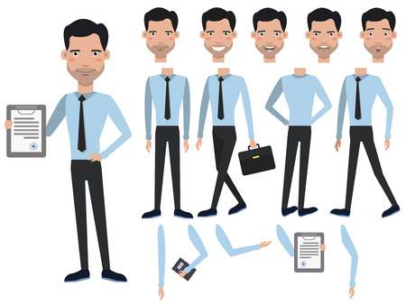 Man with contract character set with different poses, emotions, gestures. Animation constructor, front, back and side view. Can be used for topics like contractor, closer, agreement, manager 向量圖像