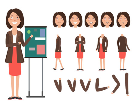Business speaker character set with different poses, emotions, gestures. Animation constructor, front, back and side view. Can be used for topics like teacher, businesswoman, business coach