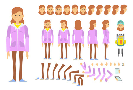 Student girl character creative set with different poses, gestures, emotions. Animation constructor, changeable parts, front, back and side view. Can be used for topics like tourism, school, college