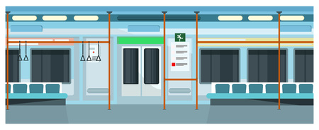 Modern comfortable subway train vector illustration. Blue exterior of underground train with bars and seats. Metro concept