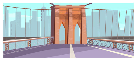 Brick arch of city bridge vector illustration. City road with railing and arch. Bridge design concept Illustration