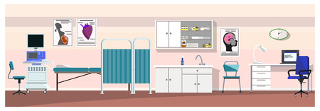 Hospital room with ultrasound scanner vector illustration. Pink wall in clinic with medical equipment. Medical examination concept