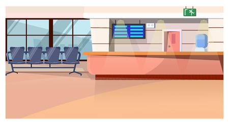Sala de espera con mostrador en la ilustración de vector de aeropuerto. Espacio luminoso con hielera, pantalla colgante y sillas en fila. Concepto de aeropuerto Ilustración de vector