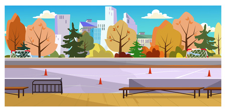 Roller-skating space with traffic cones vector illustration. City court with autumn trees around. Recreation concept Illustration