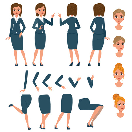 Businesswoman in formal suit character set with different poses, hairstyles, gestures. Parts of body, face. Can be used for topics like office lifestyle, manager, lady