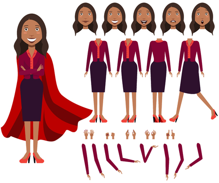 Flat icons set of Latin business woman views, poses and emotions. Facial expressions collection. Business woman concept. Vector illustration for topics like business, management, marketing.