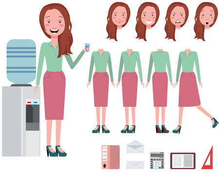 Businesswoman drinking water from cooler character set with different poses, emotions, gestures. Part of body, folder, diary, calculator. Can be used for topics like lifestyle, office, secretary 向量圖像