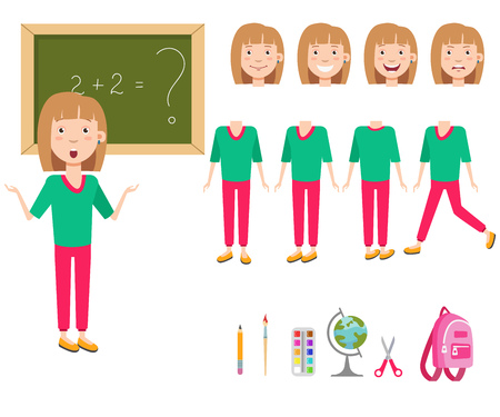 Confused schoolgirl at blackboard character set with different poses, emotions, gestures. Part of body, satchel, globe, pencil, paintbrush. Can be used for topics like school, education, task