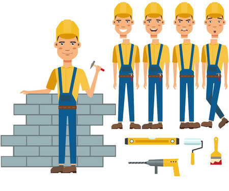 Construction worker building wall character set with different poses, emotions, gestures. Part of body, drill, roller, spatula. Can be used for topics like occupation, manual worker, profession