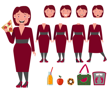 Fat lady in dress eating pizza character set with different poses, emotions, gestures. Part of body, weight scale, bag, donut, apple. Can be used for topics like obesity, eating habit, weight problem 向量圖像