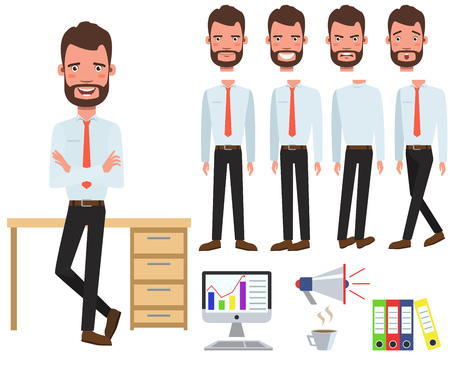 Male office manager at desk character set with different poses, emotions, gestures. Part of body, computer, megaphone, coffee. Can be used for topics like businessman, white-collar worker, employee