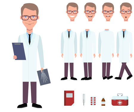 Radiologist in lab coat holding x-ray image character set with different poses, emotions, gestures. Part of body, book, drugs, medical box. Can be used for topics like doctor, medicine, healthcare