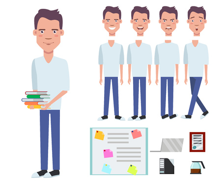 Student boy holding stack of books character set with different poses, emotions, gestures. Part of body, laptop, diploma, coffee pot, folder. Can be used for topics like studying, education, knowledge