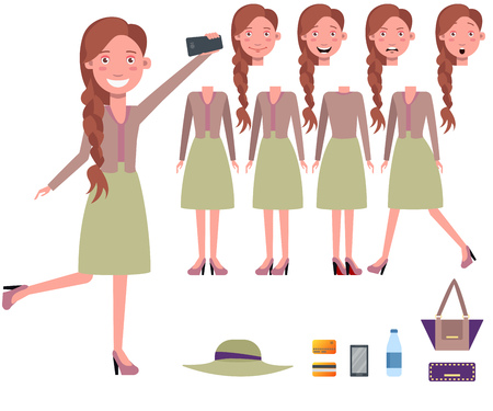 Stylish woman taking selfie character set with different poses, emotions, gestures. Parts of body, bag, water, smartphone, credit cards. Can be used for topics like lifestyle, fashion, lady 向量圖像