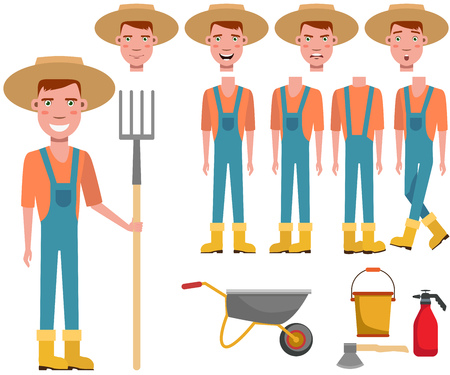 Young gardener in straw hat holding rake character set with different poses, emotions, gestures. Part of body, garden cart, dispenser, axe. Can be used for topics like agriculture, farm, occupation