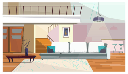 Comfortable living room with furniture vector illustration. Modern sofa, coffee table with vase, hanging chandelier and stairs in room. Interior illustration