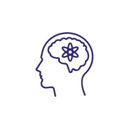 Icône de ligne d'esprit sensible. Tête, cerveau, homme, atome. Concept de renseignement. Peut être utilisé pour des sujets tels que les affaires, la science, l'activité mentale Vecteurs