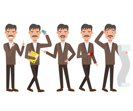 Businessman with mustache character set with different poses, emotions, gestures. Paperwork, calling on phone, drinking coffee. Can be used for topics like office, manager, white collar worker