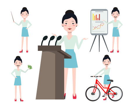 Female conference speaker character set with different poses, emotions, gestures. Cycling, presentation, teacher, earning money. Can be used for design, animation