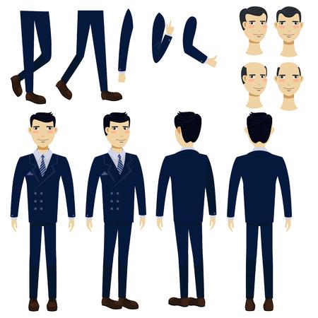 Ensemble d'icônes plat d'homme d'affaires asiatique. Collection de vues, de poses et de coiffures. Concept d'homme d'affaires. L'illustration vectorielle peut être utilisée pour des sujets tels que les affaires, la gestion, le marketing.
