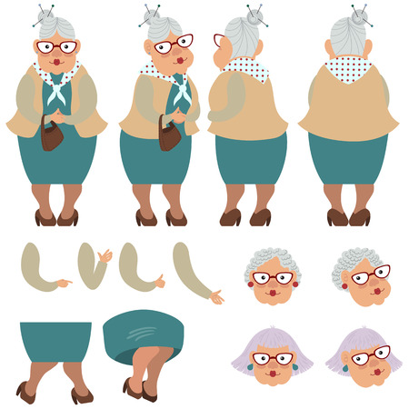 Flat icons set of old lady with bag. Views, poses and hairstyles collection. Senior woman concept. Vector illustration can be used for topics like healthcare, medicine, ageing, retirement.