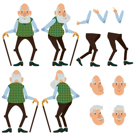 Flat icons set of old man with stick. Views, poses and hairstyles collection. Senior man concept. Vector illustration can be used for topics like healthcare, medicine, ageing, old age. Иллюстрация