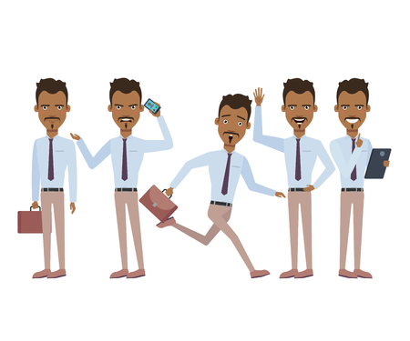 Hispanic businessman in hurry character set with different poses, emotions, gestures. Running, being late, annoyed with conversation. Can be used for design, animation
