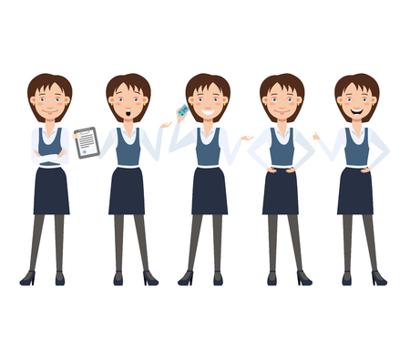 Multitasking business lady character set with different poses, emotions, gestures. Animation constructor: talking on phone, shocked from contract. Can be used for design, animation